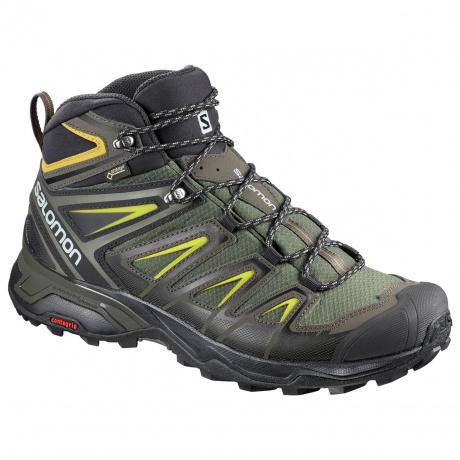 Ботинки Salomon X ULTRA 3 MID GTX® | Castor Gray/Black/Green Sulphur | Вид 1