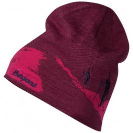 Шапка Bergans Ski Beanie   Beet Red/Raspberry/Purple Velvet   Вид 1
