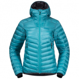 Куртка женская Bergans Senja Down Light W Jacket W/Hood  | Lt Glacier Lake/Solid Dark Grey | Вид 1