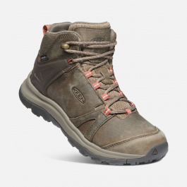 Ботинки женские KEEN TERRADORA II LEATHER MID WP W | Brindle/Redwood | Вид 1