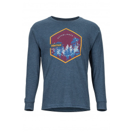 Футболка Marmot Deep Forest Tee LS | Navy Heather | Вид спереди