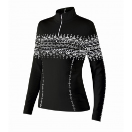Пуловер женский Newland Lusia T-NECK 1/2 ZIP LADY DH400 | Black/White | Вид спереди