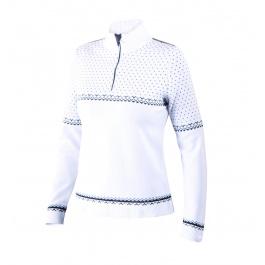 Пуловер женский Newland Lech T-NECK 1/2 ZIP LADY KNIT | White/Black | Вид спереди